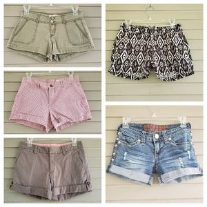 Group of 5 Pairs of Shorts Size 0 & one pair 00